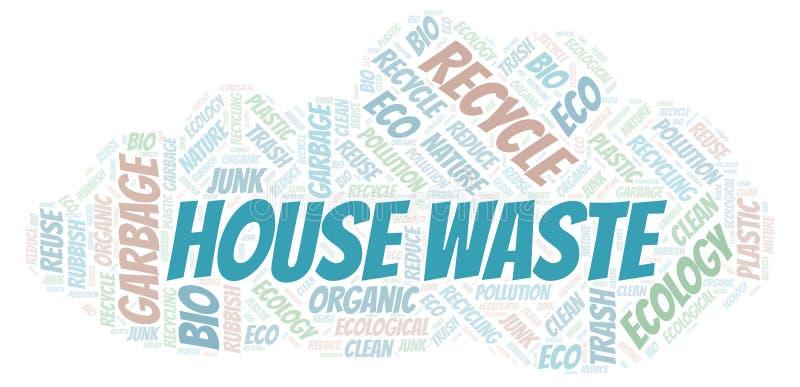 Σύννεφο λέξης αποβλήτων σπιτιών διανυσματική απεικόνιση
