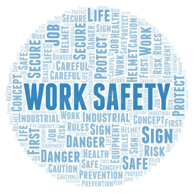 Σύννεφο λέξης ασφάλειας εργασίας απεικόνιση αποθεμάτων