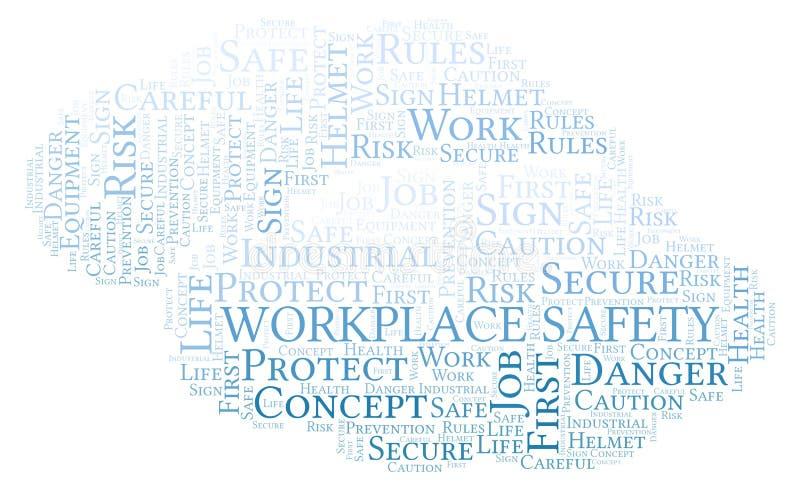 Σύννεφο λέξης ασφάλειας εργασιακών χώρων απεικόνιση αποθεμάτων