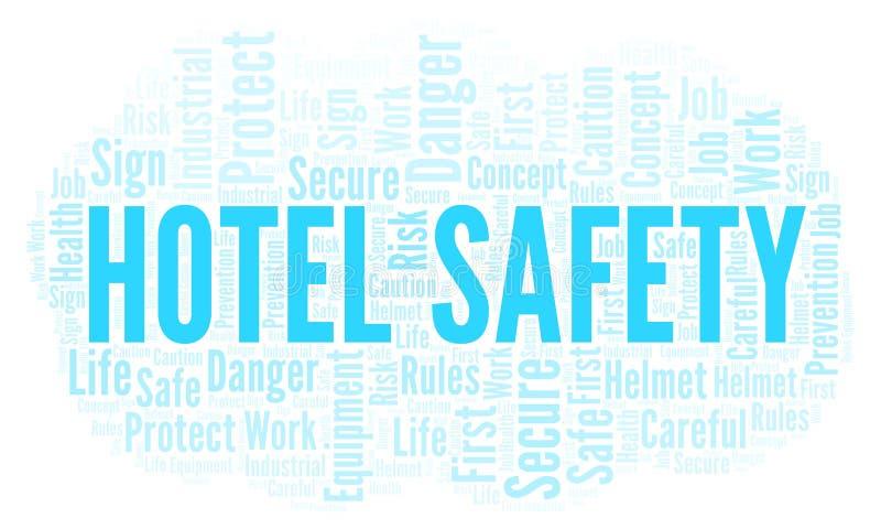 Σύννεφο λέξης ασφάλειας ξενοδοχείων απεικόνιση αποθεμάτων