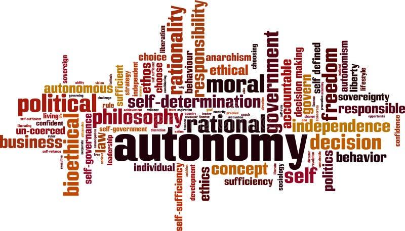 Σύννεφο λέξης αυτονομίας ελεύθερη απεικόνιση δικαιώματος