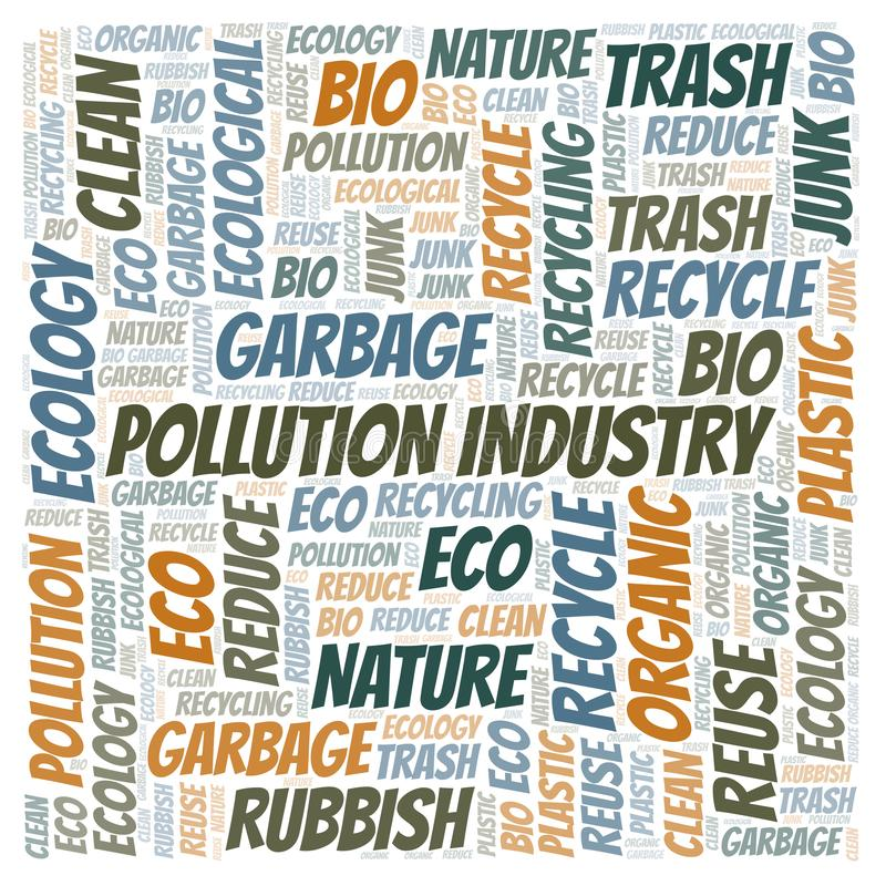 Σύννεφο λέξης βιομηχανίας ρύπανσης απεικόνιση αποθεμάτων