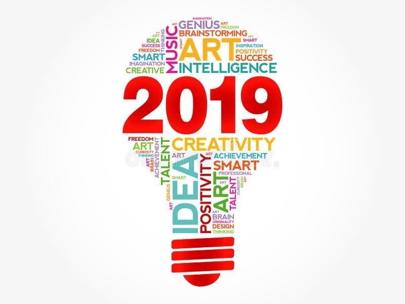Σύννεφο λέξης βολβών 2019 δημιουργικό ιδεών ελεύθερη απεικόνιση δικαιώματος