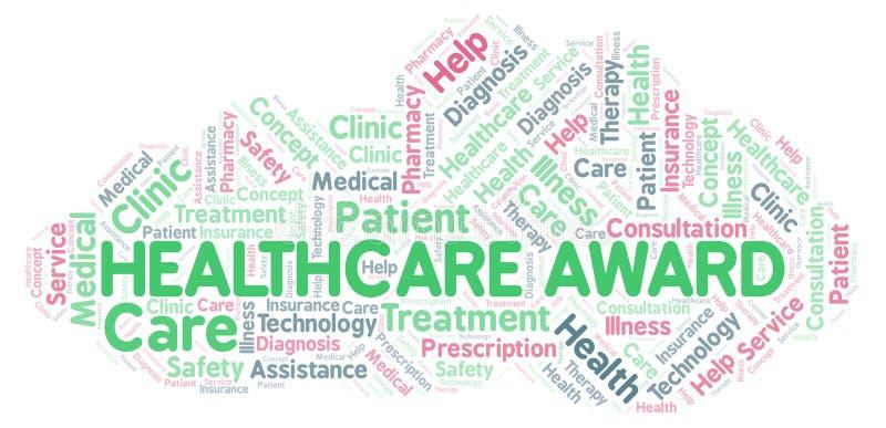 Σύννεφο λέξης βραβείων υγειονομικής περίθαλψης διανυσματική απεικόνιση