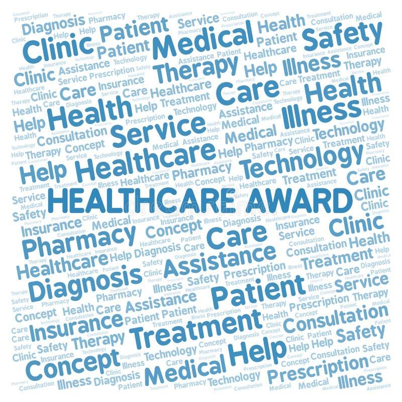 Σύννεφο λέξης βραβείων υγειονομικής περίθαλψης ελεύθερη απεικόνιση δικαιώματος