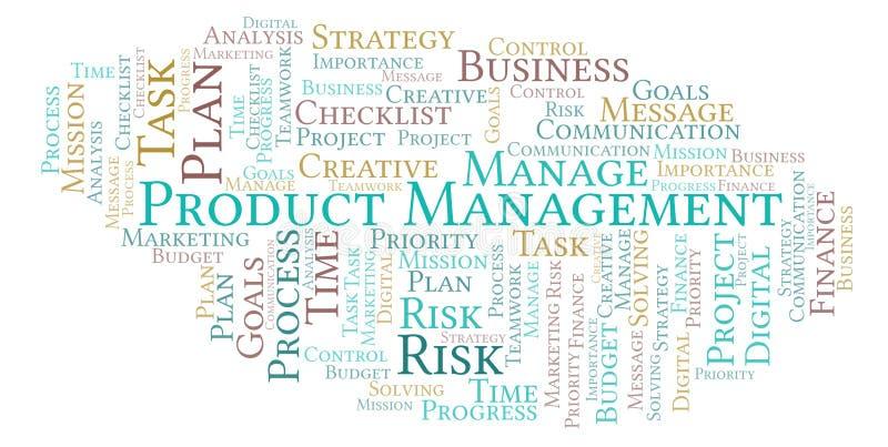 Σύννεφο λέξης διαχείρισης προϊόντος, που γίνεται με το κείμενο μόνο διανυσματική απεικόνιση