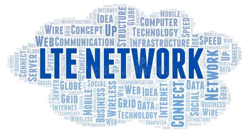 Σύννεφο λέξης δικτύων Lte απεικόνιση αποθεμάτων