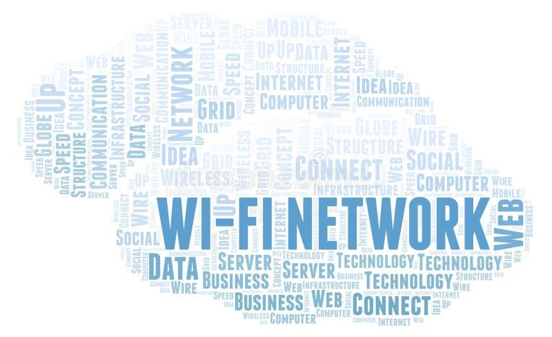 Σύννεφο λέξης δικτύων WI-Fi διανυσματική απεικόνιση