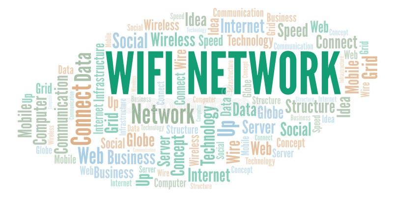 Σύννεφο λέξης δικτύων Wifi διανυσματική απεικόνιση