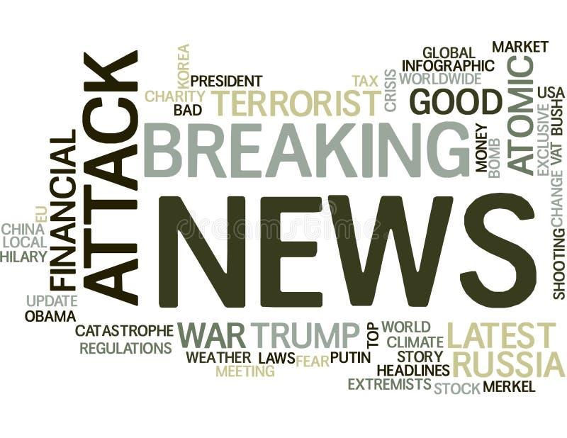 Σύννεφο λέξης ειδήσεων ελεύθερη απεικόνιση δικαιώματος