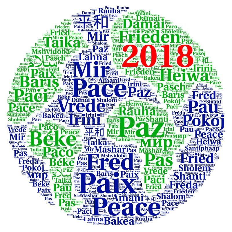 Σύννεφο λέξης ειρήνης 2018 στις διαφορετικές γλώσσες απεικόνιση αποθεμάτων