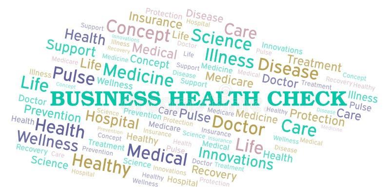 Σύννεφο λέξης ελέγχου επιχειρησιακής υγείας διανυσματική απεικόνιση