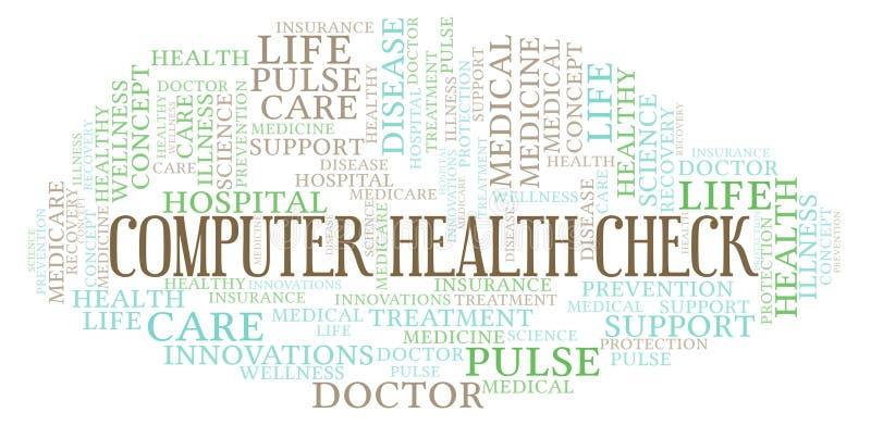 Σύννεφο λέξης ελέγχου υγείας υπολογιστών διανυσματική απεικόνιση