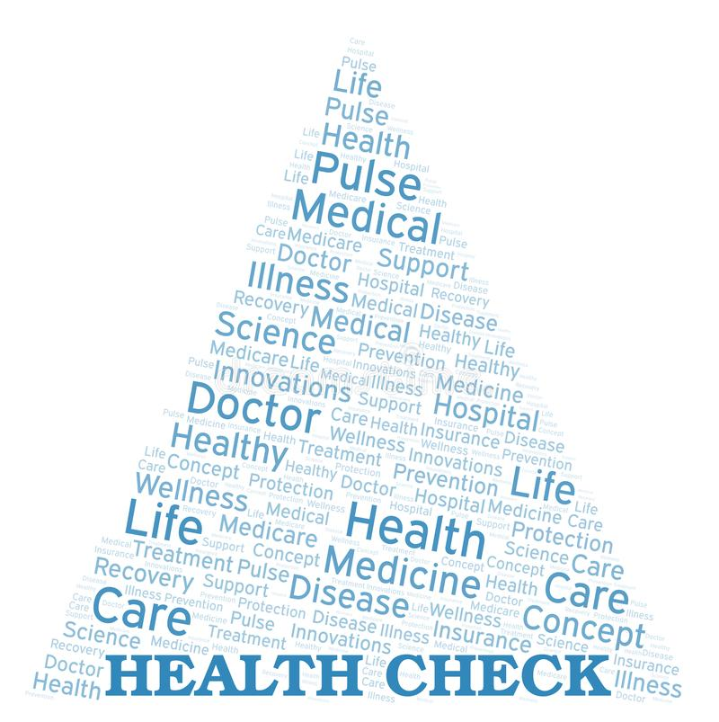 Σύννεφο λέξης ελέγχου υγείας ελεύθερη απεικόνιση δικαιώματος