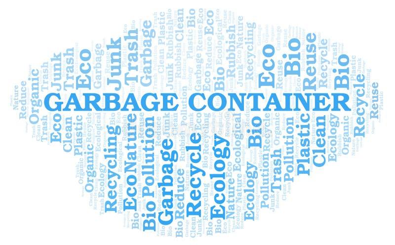 Σύννεφο λέξης εμπορευματοκιβωτίων απορριμάτων απεικόνιση αποθεμάτων