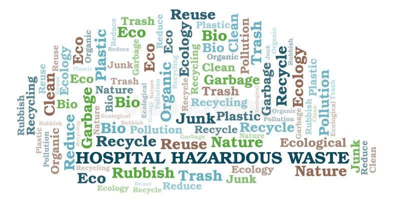Σύννεφο λέξης επιβλαβών αποβλήτων νοσοκομείων απεικόνιση αποθεμάτων