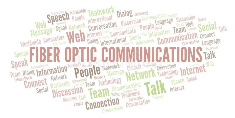 Σύννεφο λέξης επικοινωνιών οπτικών ινών ελεύθερη απεικόνιση δικαιώματος