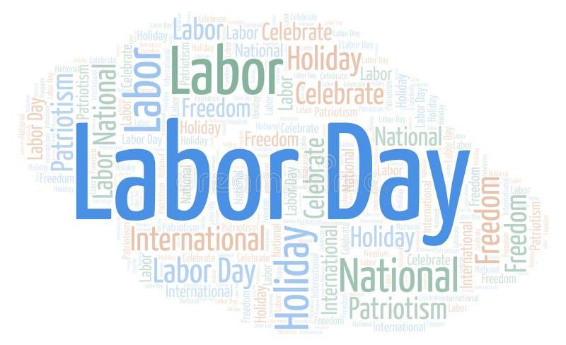 Σύννεφο λέξης Εργατικής Ημέρας ελεύθερη απεικόνιση δικαιώματος
