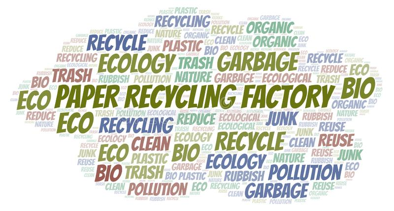 Σύννεφο λέξης εργοστασίων ανακύκλωσης εγγράφου διανυσματική απεικόνιση