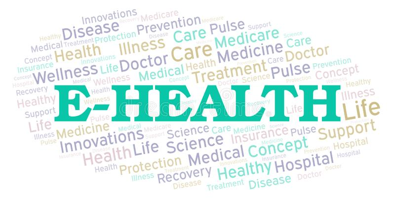 Σύννεφο λέξης ε-υγείας ελεύθερη απεικόνιση δικαιώματος