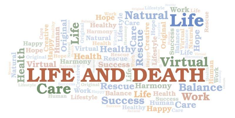 Σύννεφο λέξης ζωής και θανάτου διανυσματική απεικόνιση