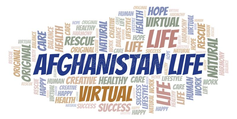 Σύννεφο λέξης ζωής του Αφγανιστάν απεικόνιση αποθεμάτων