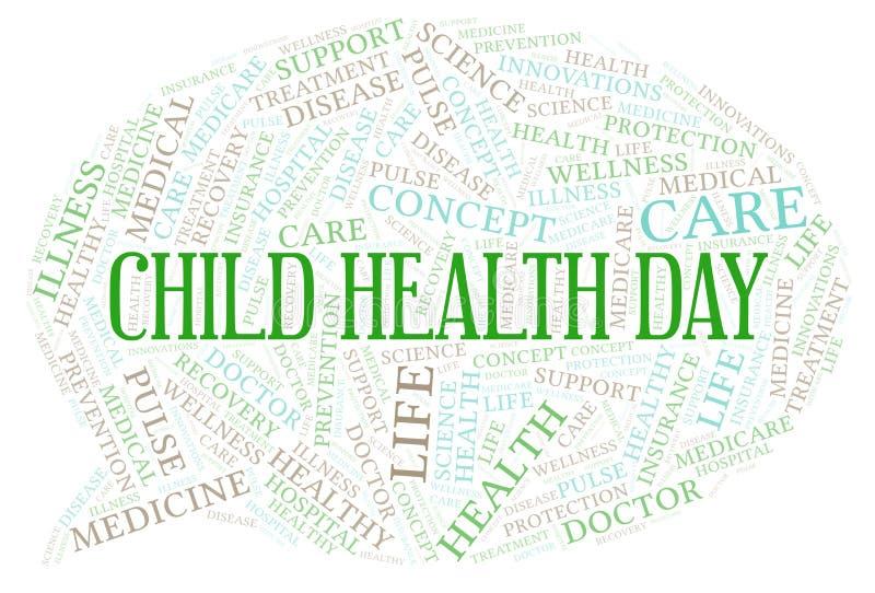 Σύννεφο λέξης ημέρας παιδικών υγειών απεικόνιση αποθεμάτων