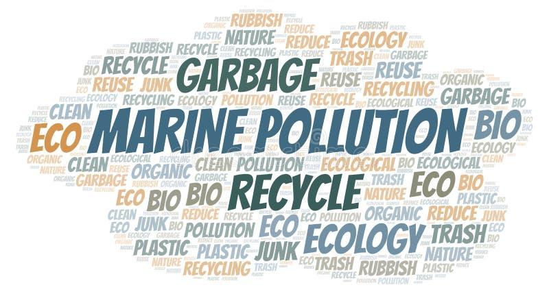 Σύννεφο λέξης θαλάσσιας ρύπανσης ελεύθερη απεικόνιση δικαιώματος