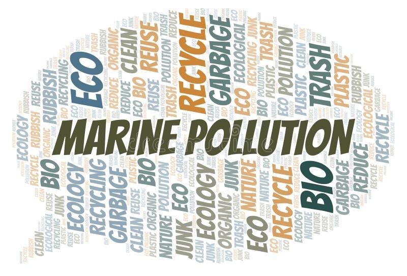 Σύννεφο λέξης θαλάσσιας ρύπανσης διανυσματική απεικόνιση