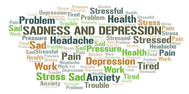 Σύννεφο λέξης θλίψης και κατάθλιψης ελεύθερη απεικόνιση δικαιώματος