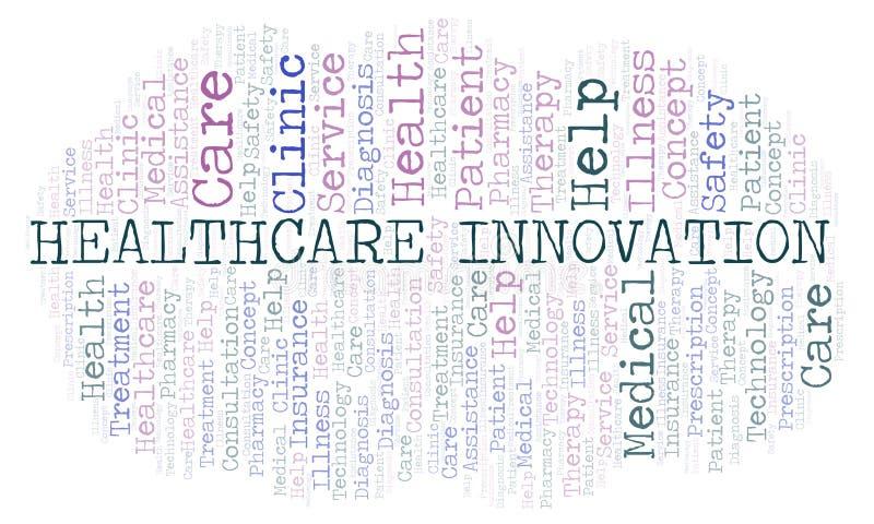 Σύννεφο λέξης καινοτομίας υγειονομικής περίθαλψης διανυσματική απεικόνιση