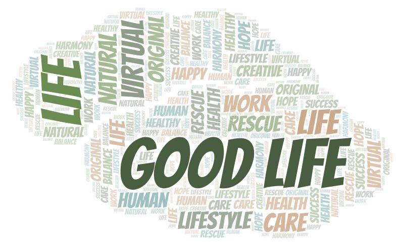 Σύννεφο λέξης καλής ζωής διανυσματική απεικόνιση