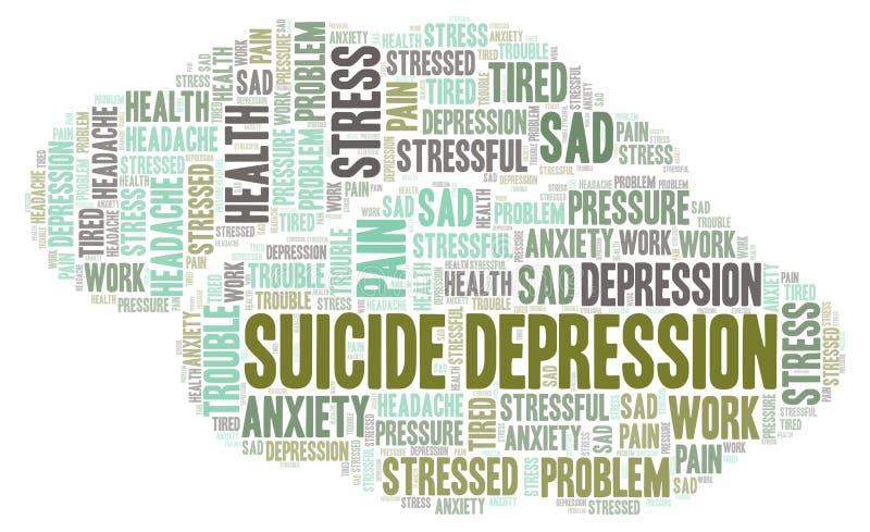 Σύννεφο λέξης κατάθλιψης αυτοκτονίας απεικόνιση αποθεμάτων