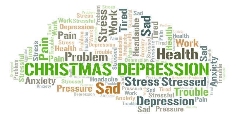Σύννεφο λέξης κατάθλιψης Χριστουγέννων ελεύθερη απεικόνιση δικαιώματος