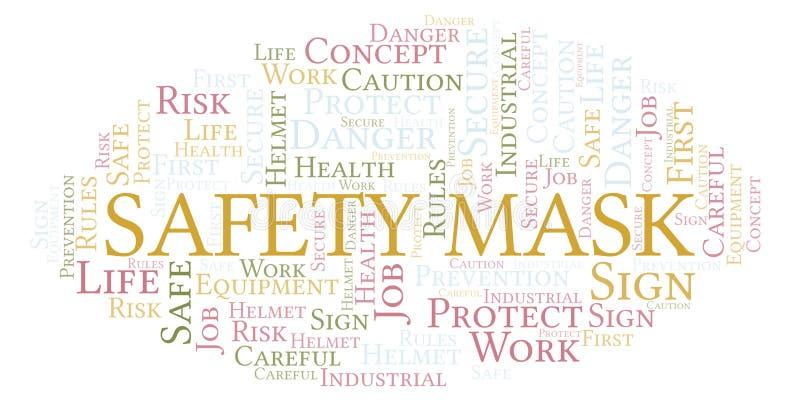 Σύννεφο λέξης μασκών ασφάλειας απεικόνιση αποθεμάτων