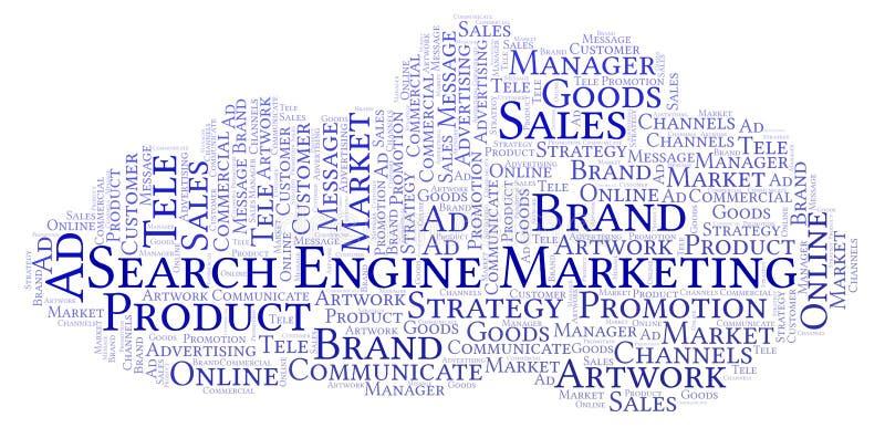 Σύννεφο λέξης με το μάρκετινγκ μηχανών αναζήτησης κειμένων απεικόνιση αποθεμάτων