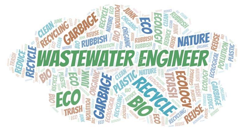 Σύννεφο λέξης μηχανικών απόβλητου ύδατος διανυσματική απεικόνιση