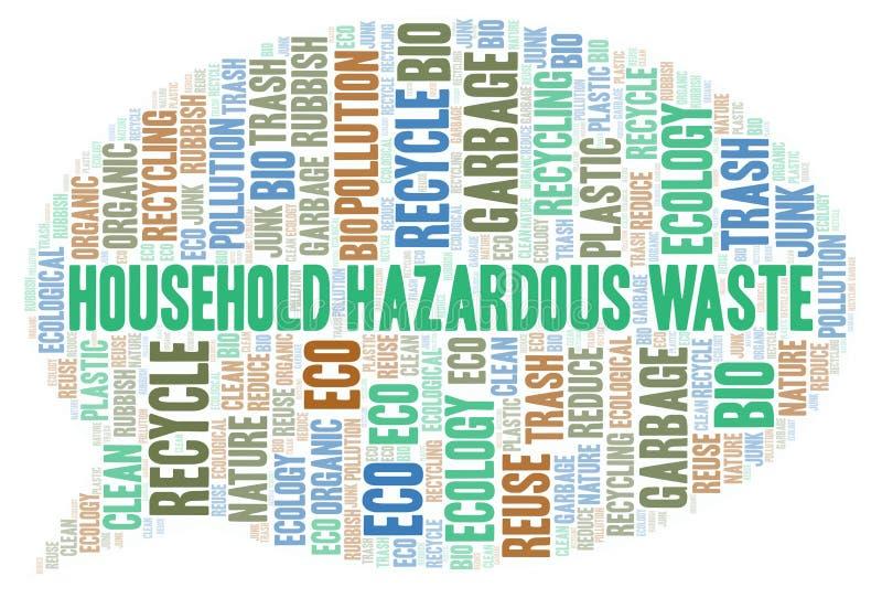Σύννεφο λέξης οικιακών επιβλαβών αποβλήτων απεικόνιση αποθεμάτων