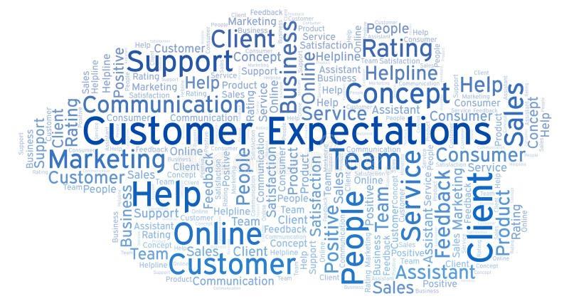Σύννεφο λέξης προσδοκιών πελατών απεικόνιση αποθεμάτων