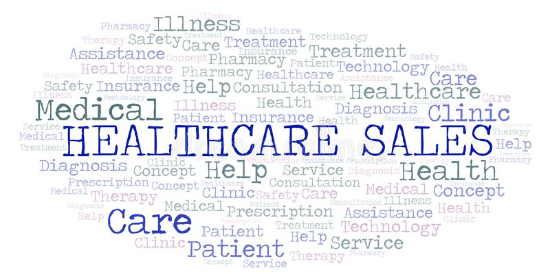 Σύννεφο λέξης πωλήσεων υγειονομικής περίθαλψης απεικόνιση αποθεμάτων