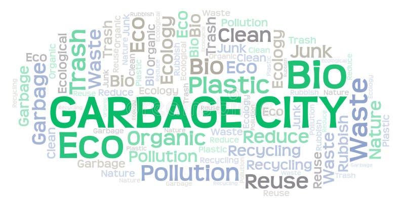 Σύννεφο λέξης πόλεων απορριμάτων ελεύθερη απεικόνιση δικαιώματος