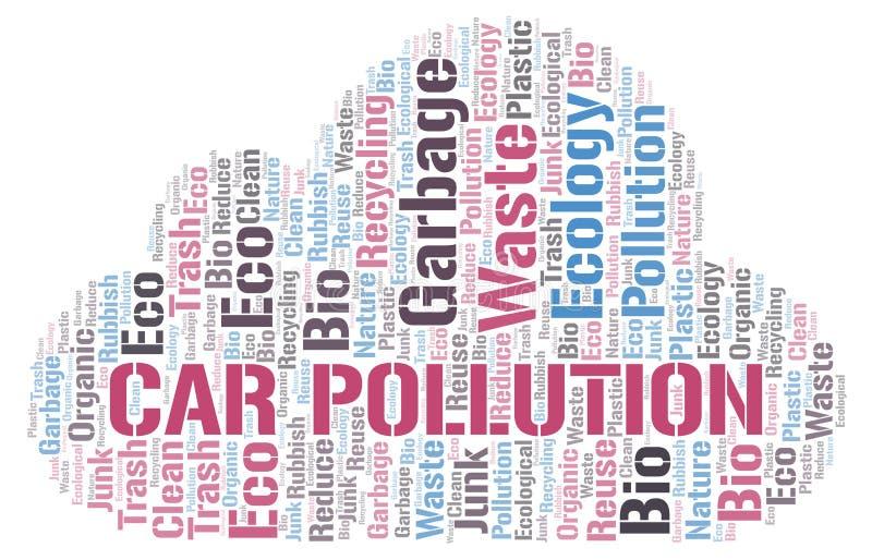 Σύννεφο λέξης ρύπανσης αυτοκινήτων διανυσματική απεικόνιση
