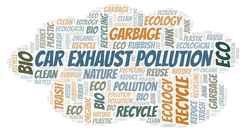 Σύννεφο λέξης ρύπανσης εξάτμισης αυτοκινήτων διανυσματική απεικόνιση