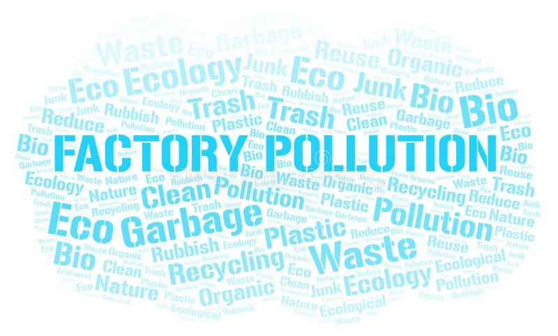 Σύννεφο λέξης ρύπανσης εργοστασίων ελεύθερη απεικόνιση δικαιώματος