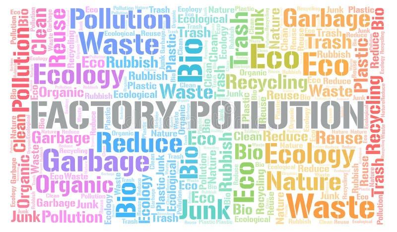 Σύννεφο λέξης ρύπανσης εργοστασίων διανυσματική απεικόνιση