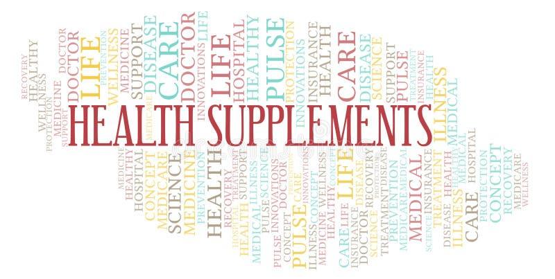 Σύννεφο λέξης συμπληρωμάτων υγείας απεικόνιση αποθεμάτων