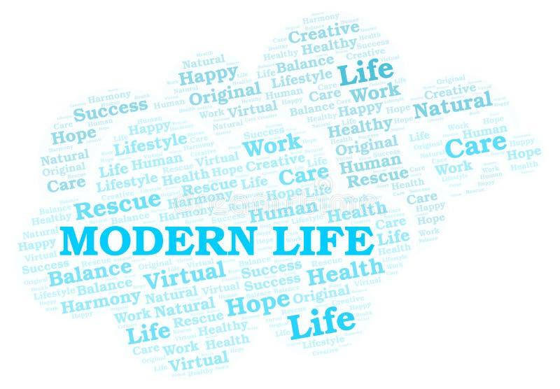 Σύννεφο λέξης σύγχρονης ζωής ελεύθερη απεικόνιση δικαιώματος