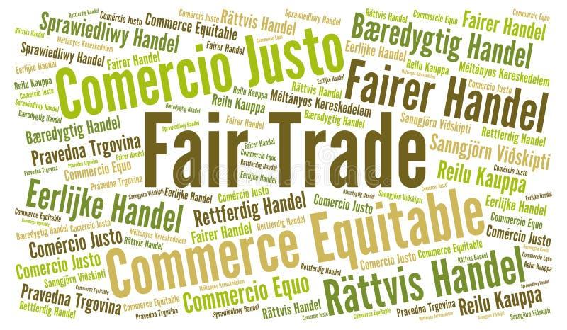 Σύννεφο λέξης τίμιου εμπορίου στις διαφορετικές γλώσσες απεικόνιση αποθεμάτων