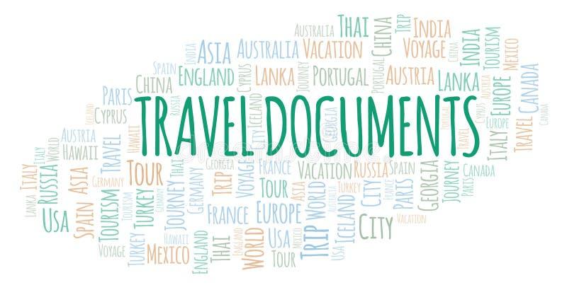 Σύννεφο λέξης ταξιδιωτικών εγγράφων ελεύθερη απεικόνιση δικαιώματος