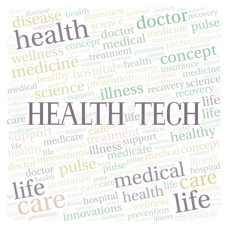 Σύννεφο λέξης τεχνολογίας υγείας ελεύθερη απεικόνιση δικαιώματος